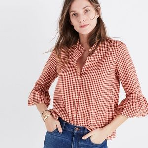 Madewell Gingham Bell Sleeve Shirt Medium